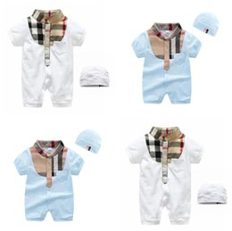 c4b9f0d4c IN stock newborn clothes new baby kids climbing rompers high quality Short  sleeve Infant Jumpsuits baby girls boys romper + hat suit