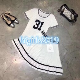 Grils Shirts Australia - High-end women grils summer shirt short sleeve with letter numbers and slim midi PLEATED dress STRETCH VISCOSE skirt Milan Runway dress set