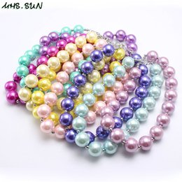 Discount kids jewelry children pearl - Wholesale Solid Colorful Girl Kid Chunky Beads Necklace Shiny Pearl Bubblegum Chunky Beads Necklace Jewelry For Children