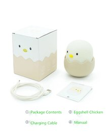 Wholesale Eggshell Chicken Emotion Silicone Night Light LED Charging Smart Bedding Egg Bed Small Table Lamp