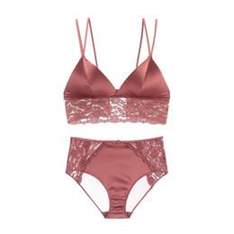 1ca4b2f107 Stain Bralette Set Lace Broadside Smooth Cup Criss-Cross Backless Panty Bra  Sets Thin Lined Underwear Women Luxury Lingerie Set