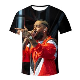 Wholesale Nipsey Hussle Designer Breathable Mens Tshirts Hip Hop Crew Neck Flag Print Mens Tops Mens Tees