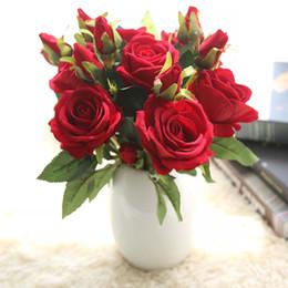 $enCountryForm.capitalKeyWord Australia - High Quality Vivid Rose Artificial Flowers Desktop Silk Flower Simulation Fake Plant Wedding Houseware Home Decor