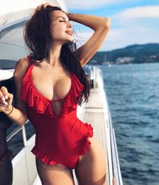 red padded one piece swimwear Australia - 2019 Red flouncing One Piece Lady Bikini Nylon Sexy Swimsuit Bathing Suits Swimwear Wading Exercise With Chest Pad A0840