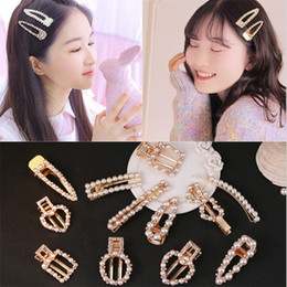 barrette cards NZ - Metal Pearls Hair Pins for Women Girls Love Hair Clip Barrette Headwear Hairpins Hair Styling Accessories Korea Style with Card Package