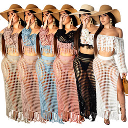 Wholesale sexy swim resale online - Womens Swimwear Sexy Hollow Tassel Beach Dress Cover Up Dress Swimwear Women Swim suit Bathing Suit Beachwear