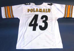 127508748 Cheap retro  43 TROY POLAMALU CUSTOM MITCHELL   NESS Jersey white Mens  Stitching High-end Size S-5XL Football Jerseys College NCAA