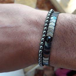 $enCountryForm.capitalKeyWord NZ - Men's Set Hematite Bracelets European Weaving Mens Brading Macrame Bangle Punk Hiphop Cool Men Jewelry Gift Pulseira Masculina