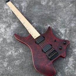 Livraison Gratuite En Stock Grote finition Red Burl wood top headless guitare électrique, style New 24 Frets de haute qualité Guitarra, Black Hardwa