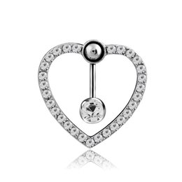 ReveRsed belly Ring online shopping - Fashion Love Heart Reverse belly button rings Bar Silver Plated Surgical Piercing Sexy Body Jewelry for women CZ navel piercing