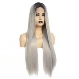 Long siLver cospLay wig online shopping - Dark Roots Ombre Grey Synthetic Lace Front Wig Natural Long Straight Silver High Temperature Fiber Wigs for Black Women Cosplay Party Wig