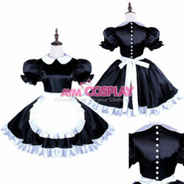 tailor made costumes Australia - Satin sissy maid dress with Pearl buttons uniform Tailor-made