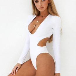 b90e0f3b17a99 High Cut Long Sleeve Swimwear Women One Piece Sexy Swimsuit Push Up  Monokini High Waisted Bathing Suit Thong Swimwear Bodysuit