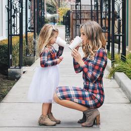 Mother Daughter Clothes Long Sleeve Australia - New Autumn Girls Plaid Splicing Tulle Princess Dress checkered Long Sleeve mother baby daughter matching dress family matching Clothes