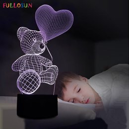 $enCountryForm.capitalKeyWord Australia - Lovely 3D LED Night Lights with Love Heart Bear Shape with Romatic Atmosphere Touch Lamp as Holiday Gifts