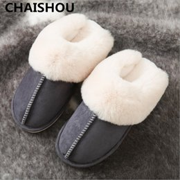 Discount men designer slippers CHAISHOU 2018 Men Home Slippers Faux suede men and women solid color zapatillas chaussons Indoor anti-skid Warm Mules F-