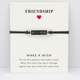 faith hope love wholesale jewelry UK - My Best Friend Forever Hope Faith Love Charm Card Bracelets Gray Brown Blue Wax Cords Women Men Girl Jewelry Christmas Gift