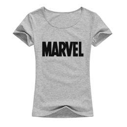 Print Quality Lycra T Shirts UK - Brand Marvel T Shirt Women Tops Tees Top Quality Elastic Cotton Casual Fashion Girls T-shirt 2018 Summer Marvel T Shirts