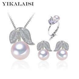 cherry jewelry sets Australia - YIKALAISI 925 Sterling Silver Natural Freshwater Pearl Ring Stud Earrings Pendant fashion Cherry Sets Jewelry For Women 4 Color