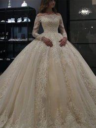 $enCountryForm.capitalKeyWord Australia - Gorgeous Illusion Bateau Neck Flower Wedding Dresses Sheer Long Sleeve Lace Plus Size Tulle Saudi African Bridal Gowns Ball Formal Custom
