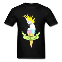 Cotton Scream Australia - Funny I Scream T-shirt Men Ice Cream Cockatoo T Shirt Birthday Gift Tshirts Party Cartoon Clothes Slim Fit Black Top Tees Cotton
