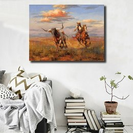 $enCountryForm.capitalKeyWord Australia - Andy Thomas Western Cowboy HD Wall Art Canvas Posters Prints Oil Painting Wall Pictures For Living Room Home Decor