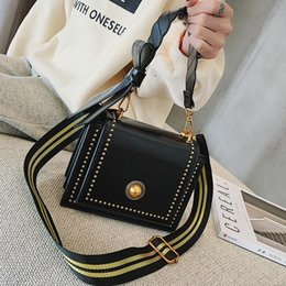Phone broadband online shopping - Broadband Small Bag Woman Rivet Shoulder Small Square Package All match Cable Satchel bag