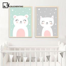 $enCountryForm.capitalKeyWord Australia - NICOLESHENTING Nordic Art Bear Fox Canvas Poster Painting Cartoon Animal Wall Picture Print Children Baby Room Decoration