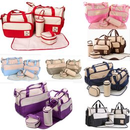 $enCountryForm.capitalKeyWord NZ - Diaper bag 5pcs set Mommy nappy tote bag waterproof large capacity baby diaper bag includes changing pad bottle case