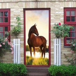 $enCountryForm.capitalKeyWord UK - 2Pcs Set Creative Animal Horse Door Stickers Corridor Wallpaper Poster Wall Stickers Office Bedroom Living Room Home Decoration