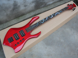 Custom eleCtriC guitar shapes online shopping - Factory Custom Red Unusual Shape Strings Electric Bass Guitar with Black Hardwares Abalone Snake Fret Inlay HH Pickups Offer Customized