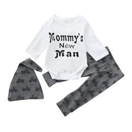 $enCountryForm.capitalKeyWord Australia - good quality Newborn Clothing Set Infant Baby Boy clothes 3PCs Letter Romper Tops Pants Hat Clothes Outfits Set roupa infantil menino