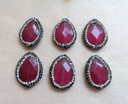 $enCountryForm.capitalKeyWord Australia - 10 pieces Natural Rose quartz Druzy Bead Pave Rhinestone Crystal Connector Spacer Bead For DIY Making Bracelet necklace Jewelry BD25