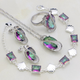 rainbow rings for women Australia - Silver 925 Bridal Jewelry Sets For Women Wedding Accessories Rainbow Cubic Zirconia Necklace Earrings Bracelet Pendant Ring