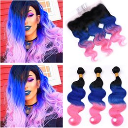 $enCountryForm.capitalKeyWord Australia - Brazilian Human Hair #1B Blue Pink Ombre 3Bundles Body Wave and Frontal Body Wavy 3Tone Ombre Lace Frontal Closure 13x4 with Weaves