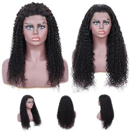 Mongolian huMan hair kinky wigs online shopping - Brazilian Human Hair kinky Curly quot quot Women Lace Front Wigs Hair Wigs Europe Africa Fashion Full Hand Weaving Natural Black