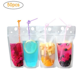Discount plastic stand up pouch 100pcs Hot Clear Drink Pouches Bags frosted Zipper Stand-up Plastic Drinking Bag with straw with holder Reclosable Heat-