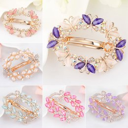 Flower Girl Rhinestone Hair Clips Australia - 1PC Crystal Rhinestone Hair Clips for Women Girls Flower Butterfly Barrettes Clamp Hairpins Brooch Hair Styling Tools