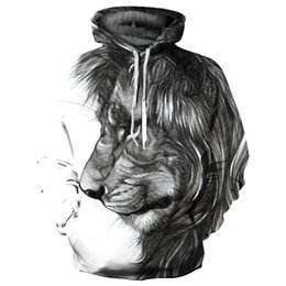 Big Hooded Hoodie Sweatshirt UK - Headbook Fashion Sweatshirts Men Women 3d Hoodies Hat Print Big Lion Hooded Hoodies Thin Tracksuits Tops Pullovers QL470