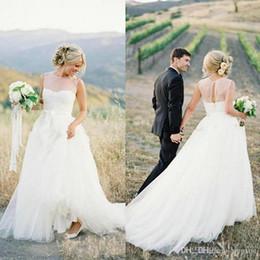 $enCountryForm.capitalKeyWord Australia - Elegant Country Wedding Dresses Sheer Jewel Neck Sleeveless Open Back Tulle Long Custom Made Wedding Dress