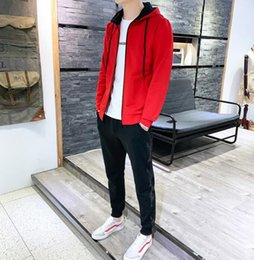 cardigan sets sale NZ - 2019 spring and Autumn New Korean youth leisure sports men's long sleeve hooded printed cardigan two piece set direct sales