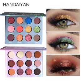 eyeshadow pigment palette wholesale NZ - Handaiyan New 12 Color Glitter Matte Eyeshadow Pigments Palette Natural Gold Blue Red Shimmer Waterproof Eye Shadow Makeup Kits