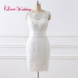 $enCountryForm.capitalKeyWord NZ - 2019 Short Wedding Dress Vestido De Noiva Scoop Collar Lace Applique Knee Length Elegant Wedding Gowns Real Photo Y19072901