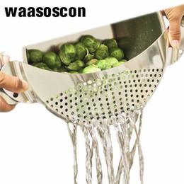 $enCountryForm.capitalKeyWord UK - Stainless Steel Moon Shaped Pan Pot Strainer Pasta Strainer Kitchen Sieves Colander Drainer Easy Draining Of Spaghetti Vegetable Q190430
