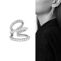 Gold plated ear cuffs online shopping - factory clip on earring Triple cz line hollow out ear cuff fashion women lady no piercing jewelry