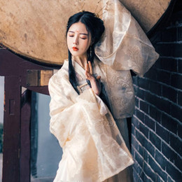 Wholesale top traditional dress resale online - Hanfu Top Skirt Sets Ancient Chinese Traditional Clothing For Women Stage Dance Performance Dress Floral Printed Golden Stunning