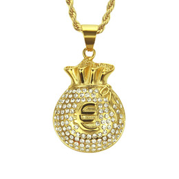 $enCountryForm.capitalKeyWord UK - HIP Hop Gold Color Stainless Steel Iced Out Bling US Dollars Purse Pendants Necklaces for Men Jewelry Wholesale