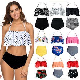 b7fb7a29df153 2019 New Bikini Sets Ruffle Swimsuit Women High Waist Plus Size Swimwear Dot  Print Bikini Set Vintage Beach Wear S-3XL biquini