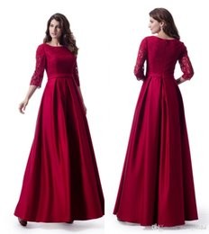 discount long red dresses Australia - Dark Red Long 2019 Modest Prom Dresses With 3 4 Sleeves A-line Floor Length Teens Formal Prom Party Gowns Elegant Custom Made Discounted
