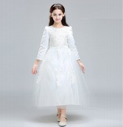 $enCountryForm.capitalKeyWord Australia - White Kids Flower Girl Dress Charming Princess Girls Party Prom Birthday Wedding Bridesmaid Beautiful Children Dress ST118